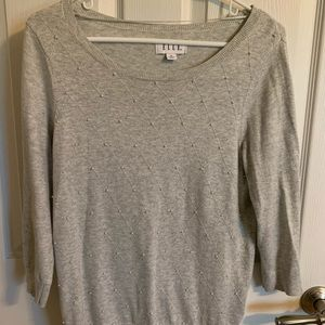 Gray Argyle Patterned Sweater with Pearl Accents